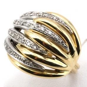 Anello maxi cupola scanalata in oro bicolore e diamanti -0.40-0.45 ct; 14.6 gr