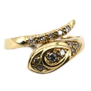 Anello serpente, oro giallo e diamanti