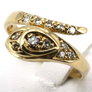 Anello serpente, oro giallo e diamanti - 0.28-0.33 ct; 5.18 gr