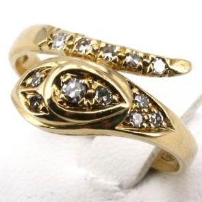 Anello serpente, oro giallo e diamanti - 0.28-0.33 ct; 5.18 gr