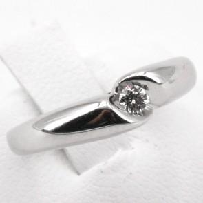 Anello solitario a fascia, oro e diamante - 0.08-0.10 ct; 2.95 gr