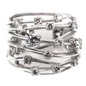 Anello maxi fascione multiplo in oro bianco e diamanti