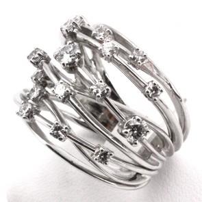 Anello maxi fascione multiplo in oro bianco e diamanti -1.30-1.40 ct