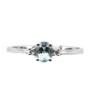 Anello oro acquamarina - 0.40-0.45 ct- e diamanti