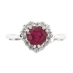 Anello oro cuore rubino  e diamanti