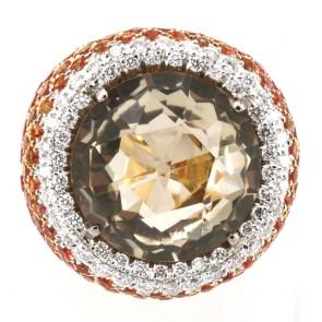 Anello oro, quarzo fumè, zaffiri arancio e diamanti bianchi