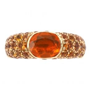 Anello oro, opale di fuoco e zaffiri arancio -