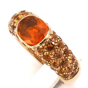 Anello oro, opale di fuoco - 1.40-1.50- e zaffiri arancio -2.95-3.10 ct; 11.5 gr.