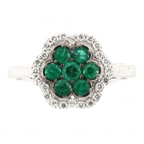 Anello fiore oro, diamanti  e smeraldi