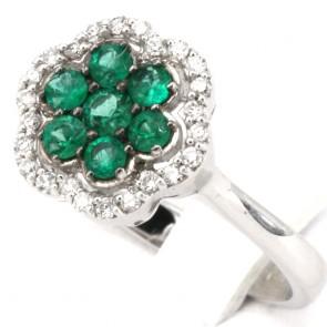 Anello fiore oro, diamanti - 0.25 ct- e smeraldi - 0.53 ct; 4.6 gr