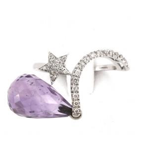 Anello goccia ametista, oro e diamanti