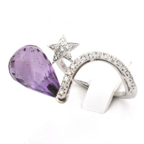 Anello goccia ametista, oro e diamanti - 0.25 ct; 4.6 gr