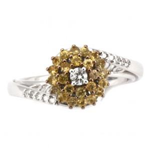 Anello oro fiore zaffiri gialli e diamanti