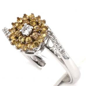 Anello oro fiore zaffiri gialli - 0.63 ct- e diamanti - 0.10 ct; 5.8 gr