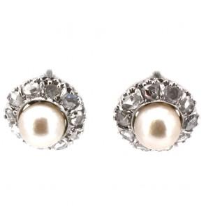Orecchini toppe in stile al lobo oro, perle e diamanti
