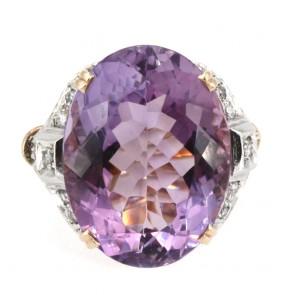 Anello in stile ametista, oro e diamanti