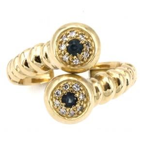 Anello contrariè in stile oro, zaffiri e diamanti