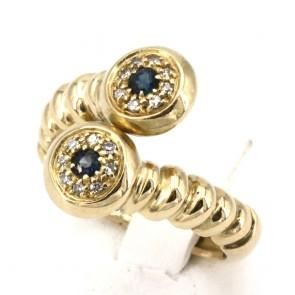 Anello contrariè in stile oro, zaffiri - 0.18-0.20 ct e diamanti - 0.18 ct; 7.95 gr