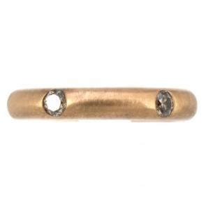 Anello fede satinata, stondata oro giallo e diamanti