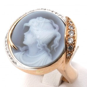 Anello Silvia Kelly cammeo in stile oro e diamanti - 0.60-0.65 ct; 16.07 gr
