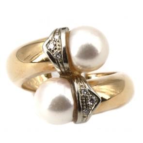 Anello contrariè perle oro e diamanti
