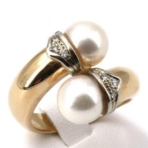 Anello contrariè perle oro e diamanti -0.10-0.12 ct; 9.67 gr