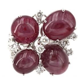 Anello maxi oro fiore rubini asteria