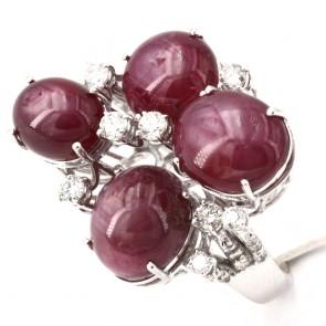 Anello maxi oro fiore rubini asteria -28.10 ct- e diamanti - 1.34 ct; 15.08 gr