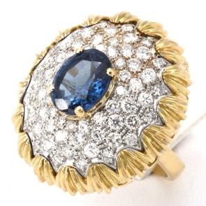 Anello capolavoro maxi cupola oro zaffiro -3.20 ct- e diamanti - 3.70 ct