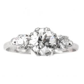 Anello trilogy antico, oro e diamanti - solitario