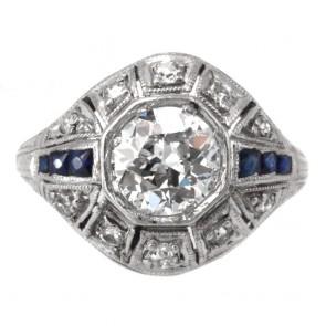 Anello antico decò, platino, diamanti - solitario