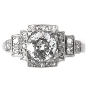 Anello solitario antico decò, platino e diamanti - solitario