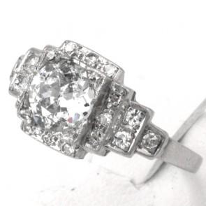 Anello solitario antico decò, platino e diamanti - solitario 1.16 ct + 0.20-0.25 ct; 3.57 gr.