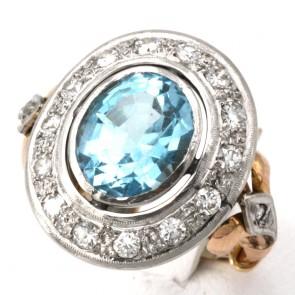 Anello toppa in stile oro, topazio azzurro e diamanti -0.80-0.90 ct; 9.14 gr