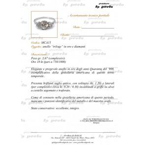 Anello trilogy antico, oro e diamanti - solitario 1.20 ct + 0.20-0.30 ct