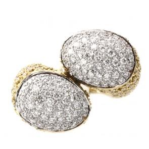 Anello maxi contrariè toppe oro, con diamanti