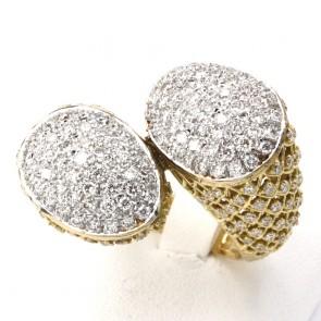 Anello maxi contrariè toppe oro, con diamanti - 2.68 ct; 13.3 gr