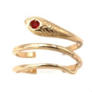 Anello serpente, oro giallo e mini rubino