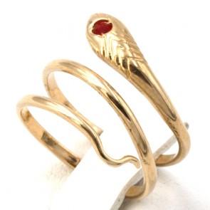 Anello serpente, oro giallo e mini rubino; 2.5 gr