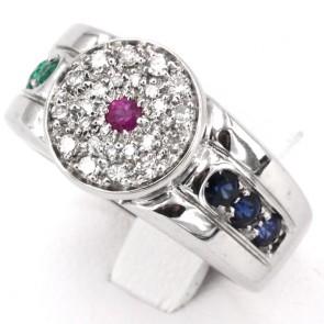 Anello fascia, oro, diamanti - 0.40-0.45 ct e pietre di colore (smeraldi, zaffiri e rubini) per 0.45-0.55 ct; 14 gr