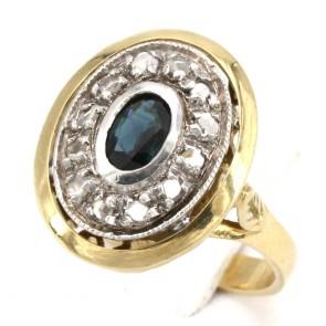 Anello toppa in stile oro, zaffiro - 0.70-0.80 ct e diamanti - 0.18-0.20; 5.76 gr