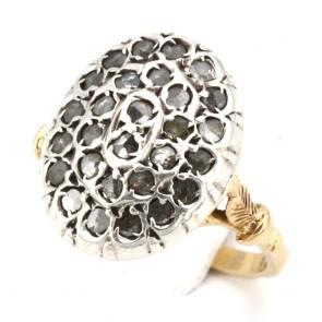 Anello toppa in stile oro e diamanti -0.80-0.90 ct; 6.5 gr