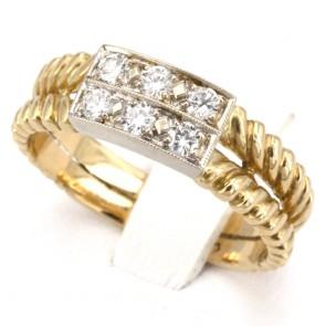 Anello fascia doppia in oro e diamanti -0.14-0.18 ct; 5 gr