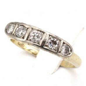 Anello riviera in stile oro e diamanti -0.38-0.45 ct; 4.14 gr