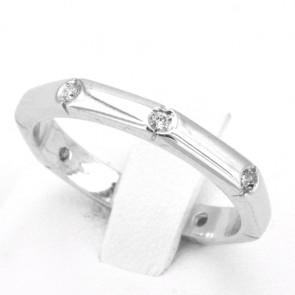 Anello fede geometrica, oro e diamanti - 0.22-0.28 ct; 4.8 gr. Misura 20
