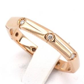 Anello fede geometrica, oro e diamanti - 0.22-0.28 ct; 4.5 gr. Misura 20