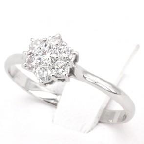 Anello margherita circolare oro e diamanti -0.39 ct; 1.65 gr