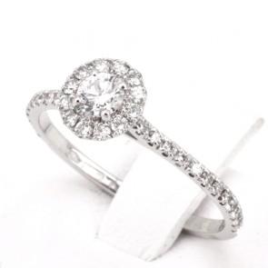 Anello margherita circolare-riviera oro e diamanti -0.52 ct; 1.8 gr