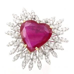 Anello maxi fuoco d'artificio e cuore di rubino - 9.55 ct - e diamanti - 1.48 ct; 13.15 gr