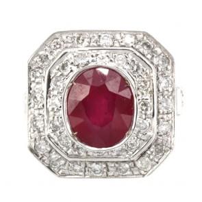 Anello toppa rubino - 3-3.5 ct - e diamanti